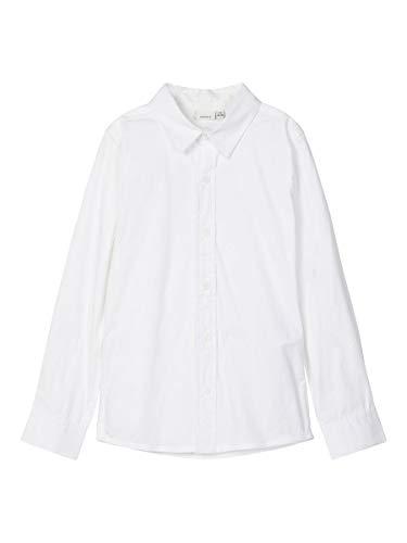 NAME IT Jungen NKMFRED LS Slim Shirt NOOS Hemd, Bright White, 134-140