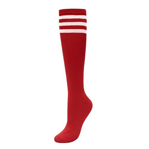 CHIC DIARY Kniestrümpfe Damen Mädchen Fußball Sport Socken College Cheerleader Kostüm Strümpfe Cosplay Streifen Strumpf, Rot, Einheitsgröße