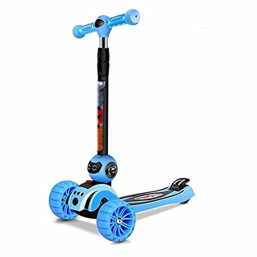 wunderschönen Faltender Roller-Lenker der Kinderhöhe, höhenverstellbarer Dreirad-Roller mit blinkenden breiten Rädern, einfach zu falten, geeignet für Mädchen und Jungen im Alter von 2-15 (blau)