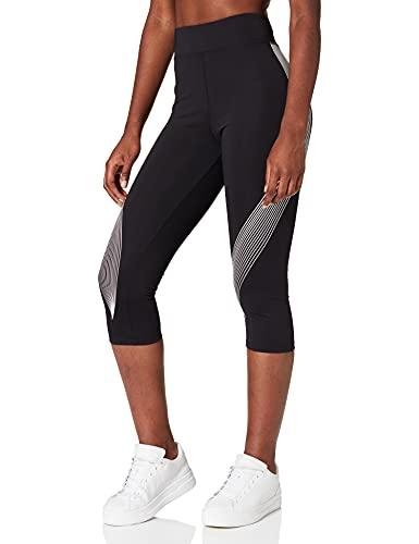 Amazon-Marke: AURIQUE Damen Capri-Sportleggings mit Print, Schwarz (Black/White), L