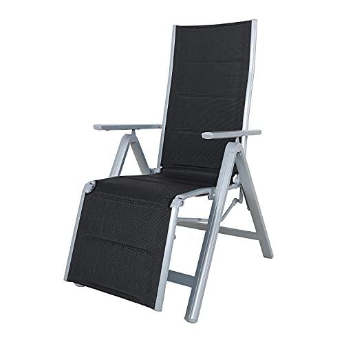 Chicreat klappbarer Relax Liegestuhl, Aluminiumrahmen, Silber/Schwarz
