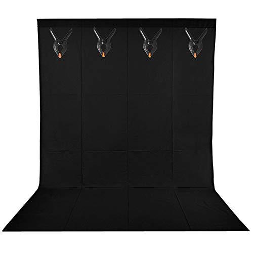 BDDFOTO 1,8 x 2,8m Photo Studio Foto Hintergrund Schwarz 100% Reiner Baumwolle Muslin Faltbare Blackscreen Hintergrund Leinwand mit 4 Leimzwinge für Fotografie, Video und Fernsehen …