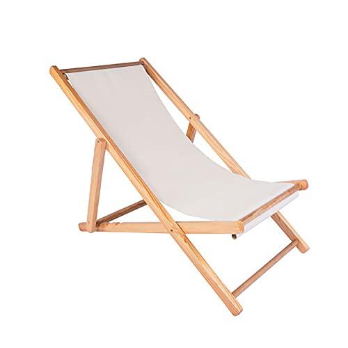 liegestuhl Klappbare Outdoor Liege Aus Holz Strandliege, Schwerelosigkeit, Höhenverstellbar, für Outdoor-Patio-strandpool(Color:Weiß)