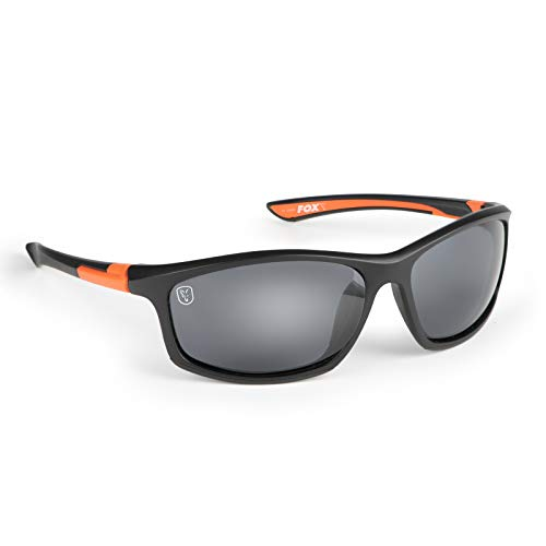 Fox Sunglasses - Polarisationsbrille, Modell:schwarz/orangener Rahmen/graue Gläser