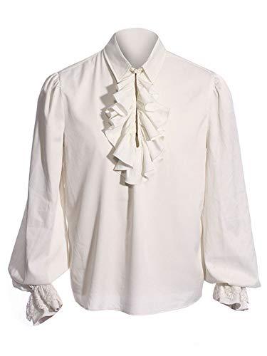Romancan Herren Cosplay Gothic Victorian Rüschenhemd Mittelalter Hemd Elegant Langarmshirt, Weiß, XXL