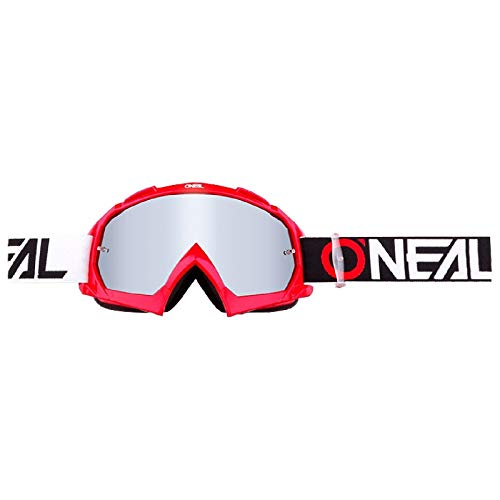 O'NEAL | Fahrrad- & Motocross-Brille | MX MTB DH FR Downhill Freeride | Hochwertige 1,2 mm-3D-Linse für ultimative Klarheit, UV-Schutz | B-10 Goggle TWOFACE | Rot Silber | One Size
