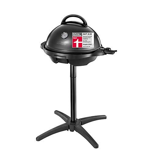George Foreman Grill 2in1 Elektrogrill: Standgrill & Tischgrill (Innen- & Außennutzung, Balkon & Küche, Ø44,5cm, Temperaturanzeige, Deckel+Cool-Touch Griff, Fettauffangschale, 2400Watt) 22460-56