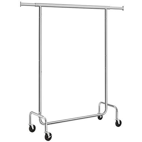 SONGMICS Kleiderständer, kleiderstangen mit rollen, Garderobenständer aus Metall, bis 130 kg belastbar, Länge: 110-150 cm, verchromt, HSR11S