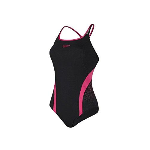 Speedo Damen Badeanzug Fit Pinnacle Kickback, Black/Pop Pink, 38
