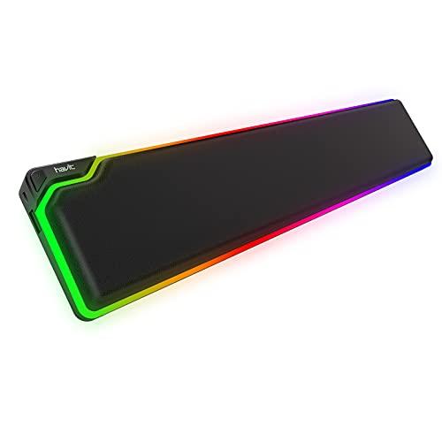 havit Handballenauflage Tastatur RGB Wrist Rest Ergonomisches PU Leder und Memory Foam Komfortable Handgelenkauflage mit USB Anschluss für PC Mechanische Gaming Tastatur (Schwarz,MP906)