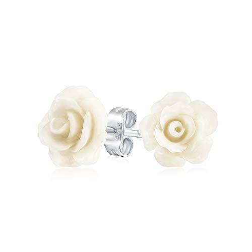 Romantische zarte Floral3D Craved Cream Off White Flower Stud Ohrringe für Frauen für Teenager Für Mutter Versilbert