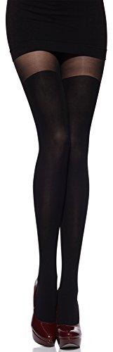 Merry Style Damen Strumpfhose mit Overknees Muster 80 DEN MSSSR01 (Schwarz, 4 (40-44))