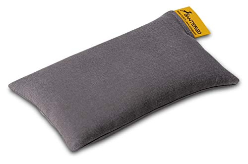 SANTERGO Mauspad Handgelenkauflage - ergonomische Handballenauflage aus Bio-Hirsespreu, Anti-Sehnenscheidenprobleme für die Computer Maus, Mousepad, Wrist Rest in Grau