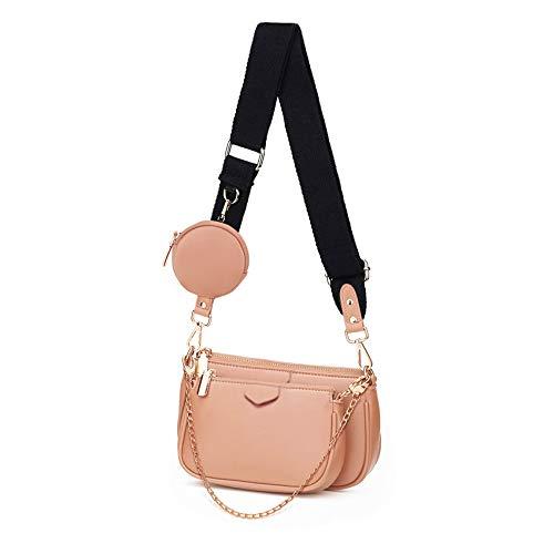 SUVIA Mehrzweck Umhängetasche Damen Crossbody-Taschen Multi-Tasche 3-Teilig Geldbörse Reißverschluss Mode Handtaschen mit Münzbeutel (Rosa)