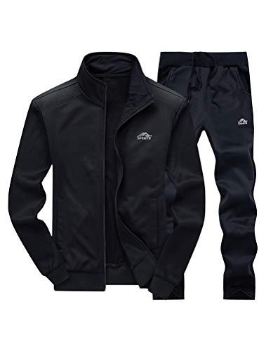 FTCayanz Trainingsanzug Herren Jogginganzug Langarm Reißverschluss Jogging Anzug Sweatshirt für Freizeit Sport Schwarz XL