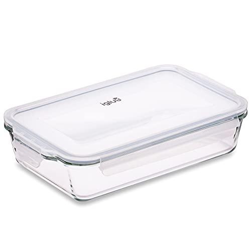 Igluu Meal Prep - Lasagneform aus Glas mit luftdichtem Schnappverschluss – große rechteckige ofenfeste Auflaufform – BPA-frei, mikrowellen-, gefrier- und spülmaschinenfest, Ovenware 2,2 l