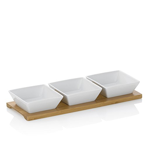 Kela weiß Schalen-Set Philipa Porzellan 4tlg 33,5x12,0x5,0cm, 33.5 x 12 x 5 cm, 4-Einheiten