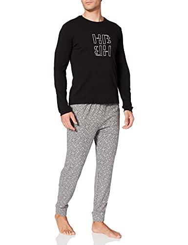 BOSS Herren Relax Long Set Pyjamaset, Medium Grey35, XL