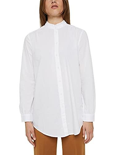 ESPRIT Long-Bluse mit gerüschtem Kragen, Baumwolle