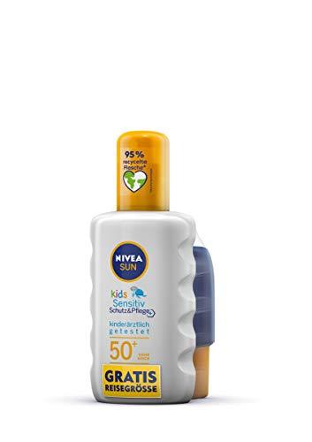 NIVEA SUN Kids Sensitiv Schutz & Pflege Sonnenspray LSF 50+ inkl. gratis Reisegröße (200 ml + 50 ml), wasserfeste Sonnencreme für empfindliche Kinderhaut