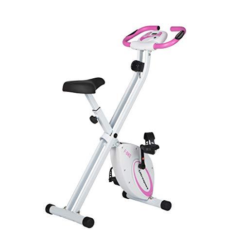 Ultrasport Heimtrainer F-Bike Advanced, LCD-Display, klappbarer Hometrainer, verstellbare Widerstandsstufen,mit Handpulssensoren, faltbarer Fahrradtrainer, für Sportler und Senioren, Fitnessbike, Pink