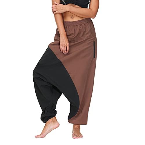 BIBOKAOKE Haremshosen Damen Baggy Weitem Bein Hose Aladin Pants Leicht Lockere Pumphose Casual Stoffhosen Freizeithosen Colorblock Strandhose Freizeit Jogg Pants Yogahosen