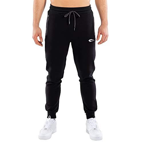 SMILODOX Herren Jogginghose Rahel - Lange Hose im Slim fit mit Low Waist Bund und Tunnelzug, Größe:M, Color:Schwarz