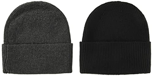 Amazon Essentials 2-Pack Knit Hat skull-caps, gray heather/black, One Size