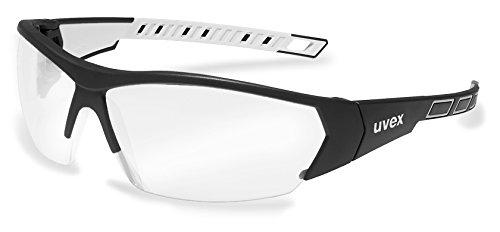 uvex i-works Unisex Arbeitsbrille EN166 & EN172 -, Schutzbrille mit UV400 UV-Filter, schwarz-weiss, klar