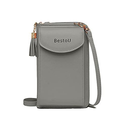 BestoU Handtasche Damen Handy Umhängetasche, PU Leder Geldbörse Damen Brieftasche Schultertasche Crossbody Damen Handytaschen (Grau)