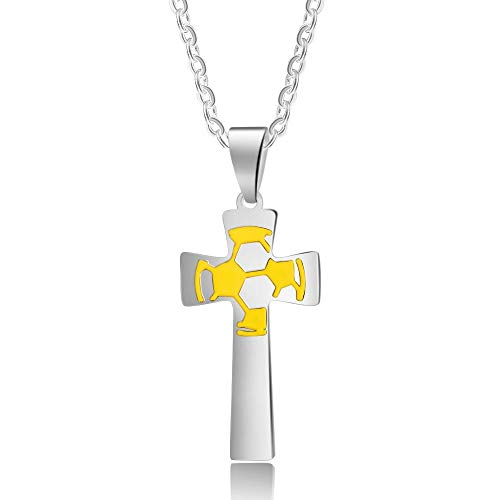 Grand Made Personalisierte Kreuz Halsketten für Jungen Custom Gravur Herren Edelstahl Fußballfan Sportfan Fußball Kreuz Halskette