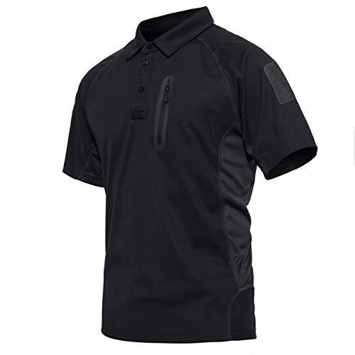 KEFITEVD Golf Poloshirt Herren Kurzarm Leicht T-Shirt mit Zip-Taschen Sommer Oberteil Outdoor Sport Bekleidung Sommershirt Männer Atrbeitsshirt Schwarz L