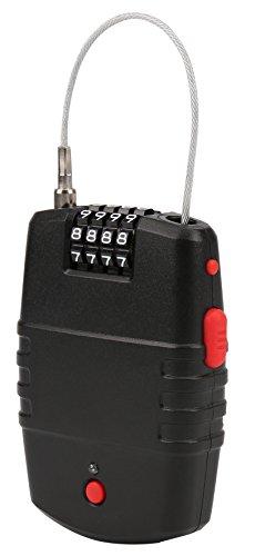Olympia ULA 400 Kabelschloss (mit Alarmfunktion, 65cm Stahlseil, 90 dB Alarm, Universelles Draht-Seilschloss, mobiles Alarmschloss zum Aufrollen)