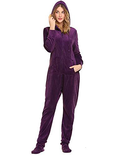 Unibelle Jumpsuit Einteiler Für Damen Strampelanzüge Schlafanzug Fleece Winter Ganzkörperanzug Violett L