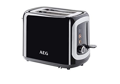 AEG AT 3300 Doppelschlitz-Toaster / Brötchenaufsatz / Staubschutz-Deckel / 7 Bräunungsgrad-Einstellungen / Brötchenaufback-Funktion / Stopp-, Auftau- & Aufwärmknopf / Krümelschublade / schwarz/silber