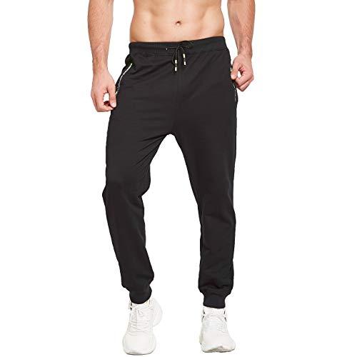 ZOXOZ Jogginghose Herren Sportbekleidung Hosen Fitness Hosen Traningshose Baumwolle mit Reissverschluss Taschen(Schwarz L)