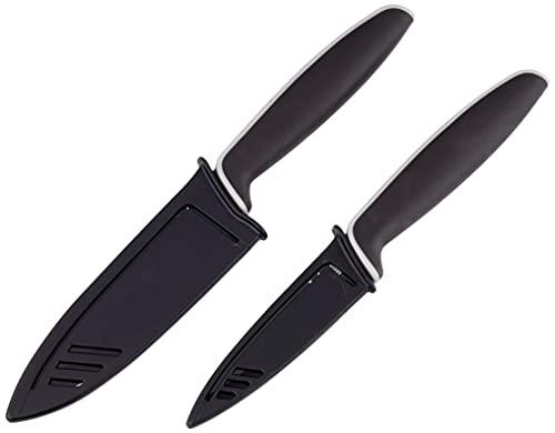 WMF Touch Messerset 2-teilig, Küchenmesser mit Schutzhülle, Spezialklingenstahl antihaftbeschichtet, scharf, Kochmesser, Gemüsemesser, schwarz