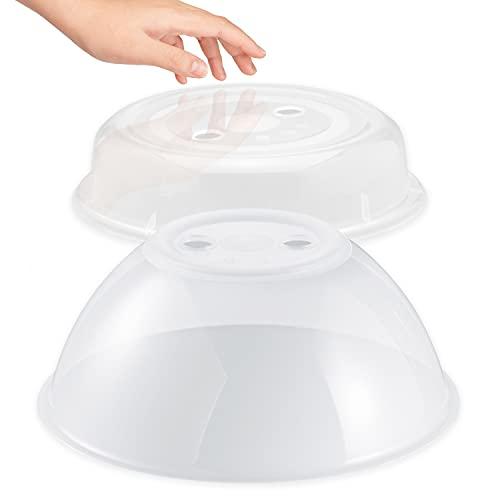 Hausfelder Mikrowellen Abdeckung - 2er Set hoch und flach - Abdeckhaube für die Mikrowelle BPA-frei