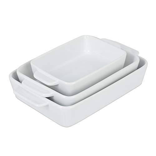 Relaxdays Auflaufform 3er Set, Keramik, 3 Größen, eckig, Lasagne, Gratin, Tiramisu, spülmaschinenfest, Ofenform, weiß
