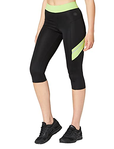 Amazon-Marke: AURIQUE Contrast Panels BAL004 sport leggings damen,Mehrfarbig (Black/Lime),42 (Herstellergröße: X-Large)