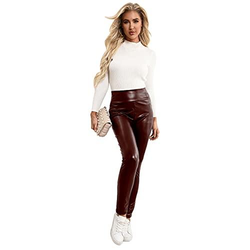LGQ Damen Pu-Leder Leggings Hosen Hohe Taille High Stretch Slim Kunstlederhose Motorrad Lederhose,Rot,L