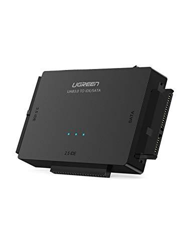 UGREEN USB 3.0 zu IDE Docking Station SATA auf USB 3 Konverter mit Netzschalter 2,5'' und 3,5'' SATA HDD und IDE HDD Adapter unterstützt CD/DVD Laufwerke Festplatten Lesegerät für extern SSD/HDD