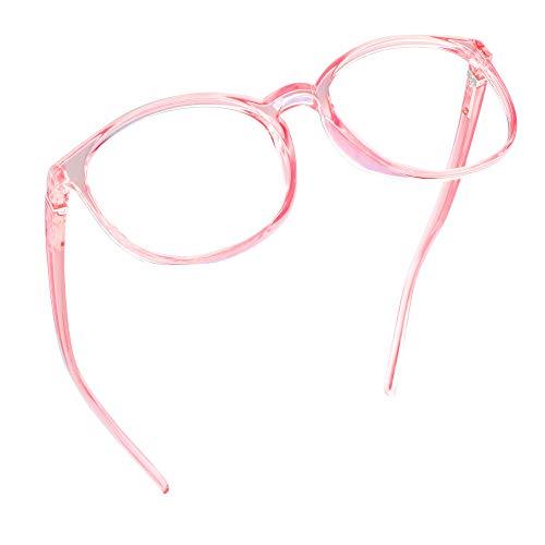LifeArt Blaue Licht Blockieren Brille, Anti-Augen-Müdigkeit, Computer Lesebrillen, TV Brille für Frauen Männer (Transparentes Rosa, Nein Vergrößerung)