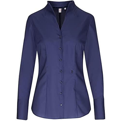 Seidensticker Damen Bluse – Bügelfreie, schmal taillierte Hemdbluse mit Kelchkragen und Kragen-Ausschnitt – Langarm – 100% Baumwolle, Blau (Dunkelblau 18), 38