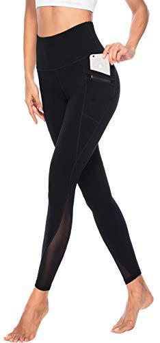 Persit Yoga Leggings Damen, Sporthose Yogahose Sport Leggins Tights für Damen, 34W / 36L (Herstellergröße S), Schwarz