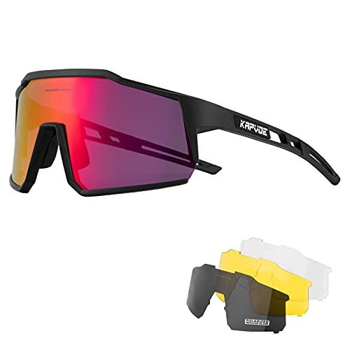 KAPVOE Polarisiert Fahrradbrille mit 4 wechselgläser TR90 Rahmen für Herren Damen Sportsonnenbrille Sport Radfahren MTB Radbrille Sportbrille Fahren Angeln Baseball Laufen CE Zertifiziert 01