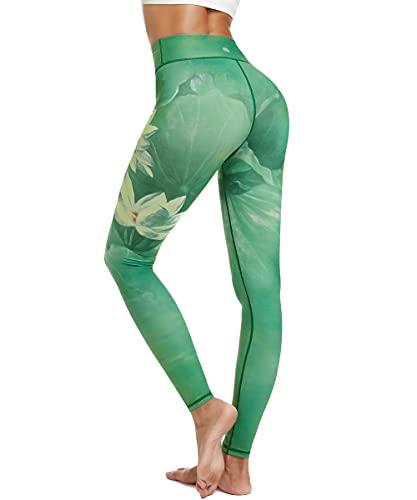 HAPYWER Yoga Leggings Damen High Waist Gym Sport Leggings Tummy Control Yoga Hosen Running Workout Kompressionsstrumpfhose Stretch Trainingshose mit Aufdruck(Lotos Grün,XL)