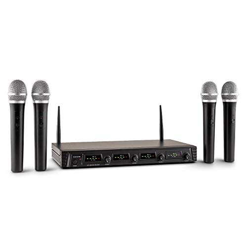 Malone Duett Quartett Fix V1-4-Kanal UHF-Funkmikrofon Set, Funk-Mikrofon System, 4 x kabelloses Handmikrofon, 50 m Reichweite, LED, 2 x XLR- und 1 x Klinken-Ausgang, schwarz