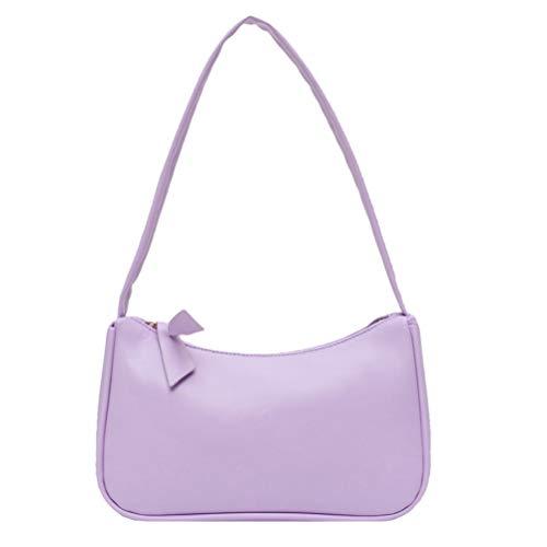Yorimi Unterarmtasche für Damen im Retro-Stil, Schleife, Handtasche, PU-Leder, Tasche mit Griff oben Taschen mit Tragegriff violett
