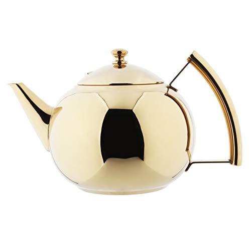 AMOMGard Teekanne mit abnehmbare Siebeinsatz Edelstahl Teebereiter Teekessel Tee Sieb für Loseblatt-Tee Kaffeekannen, Induktion Gas Herd, Golden 2 L